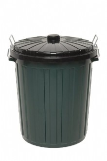 NAMEBIN - GREEN PLASTIC - BLACK LID - 73L